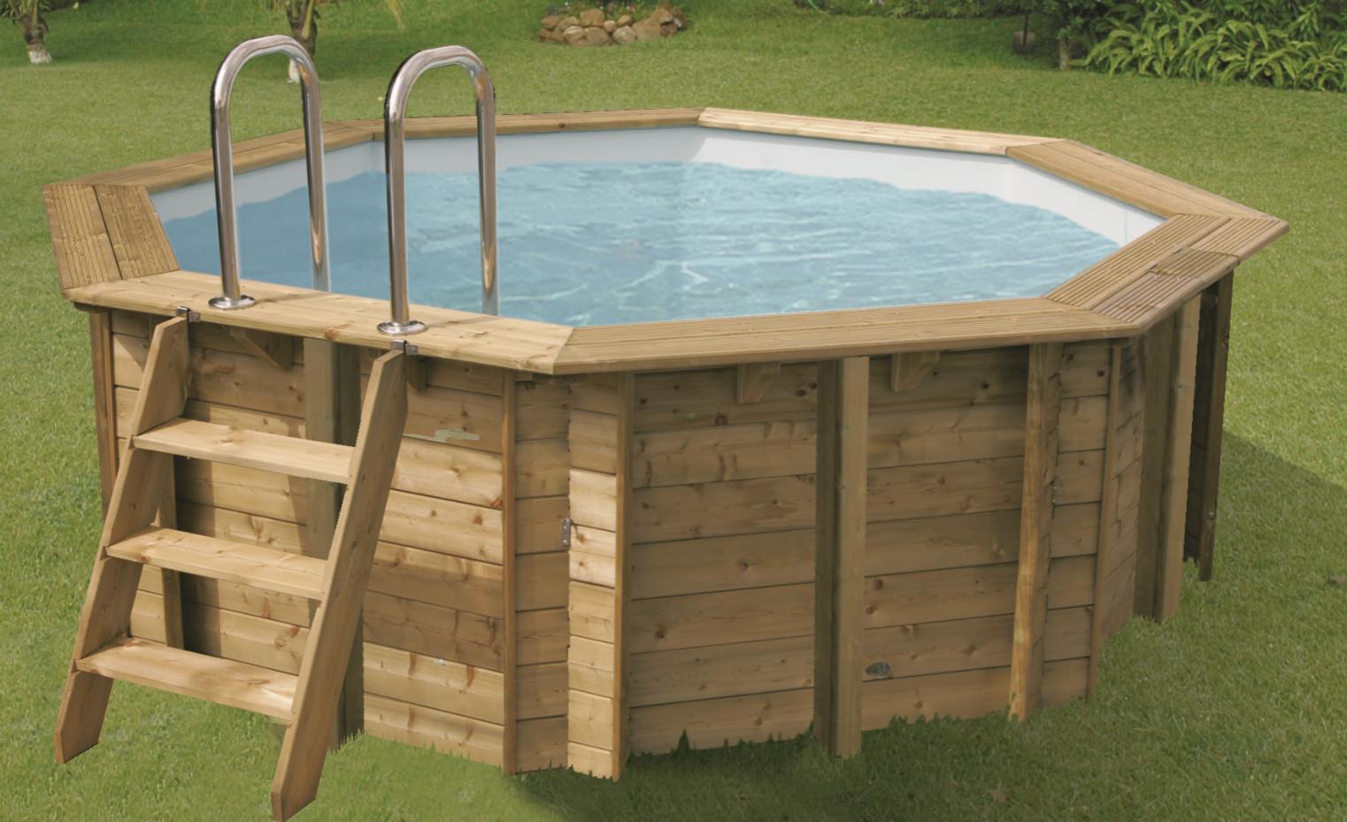 Piscine bois sunwater ronde en kit 360x120 piscineindustrie for Piscine bois en kit