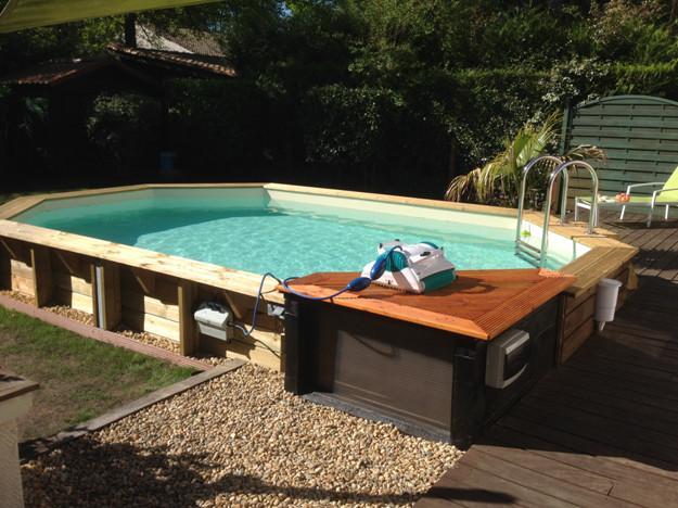 Piscine bois sasha ubbink allong e en kit 355x490xh130 cm for Montage piscine en bois