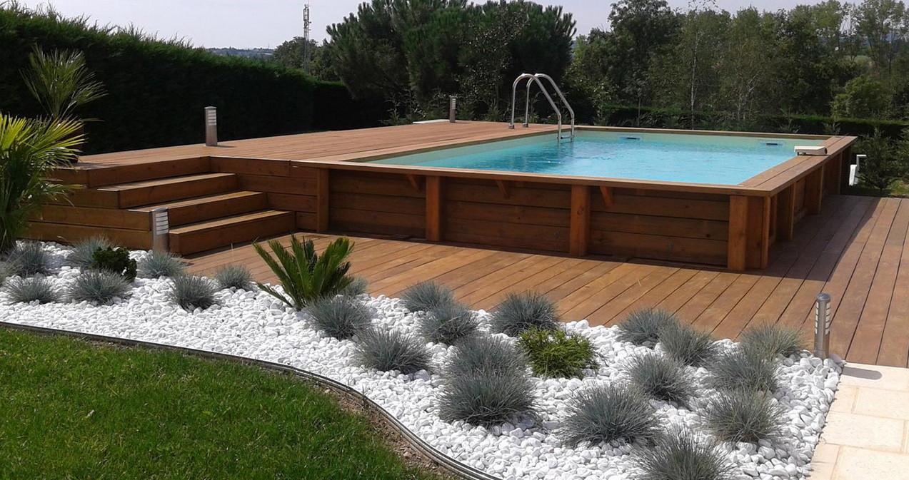 Piscine Tubulaire Habillage Bois piscine bois ubbink linea rectangulaire en kit 650x350x140cm liner bleu
