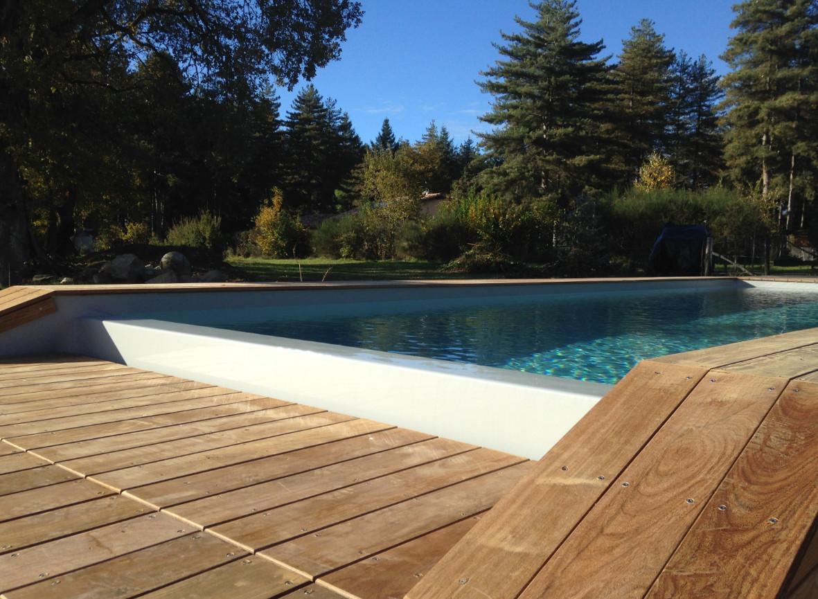 Kit piscine bois rectangulaire d bordement 4 x 2 x 1 45 for Kit piscine bois rectangulaire