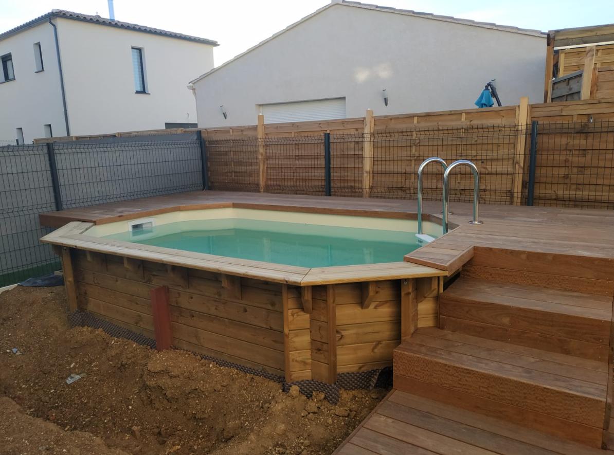 Piscine En Palette De Bois piscine bois luxe lucci 4.15x2.65x131cm