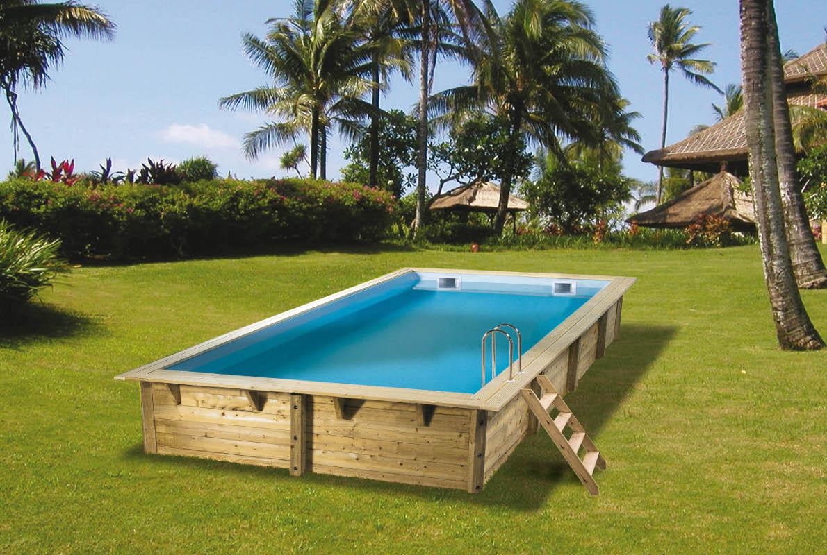 Piscine bois ubbink linea rectangulaire en kit for Kit piscine en bois