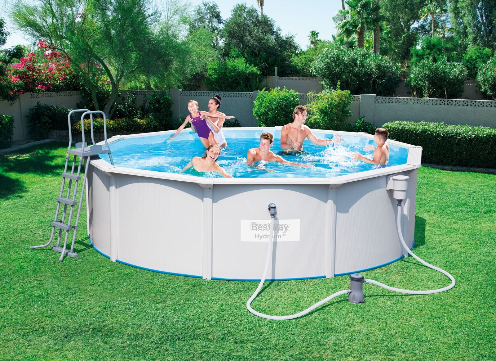 Piscine tubulaire ronde steel wall pool best way hydrium for Calcul volume piscine ronde