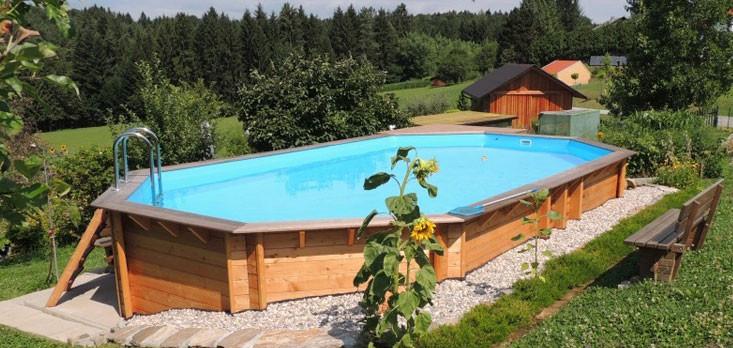 Piscine Bois AQUABELLE UBBINK Allongée en Kit 750x400xh130 cm