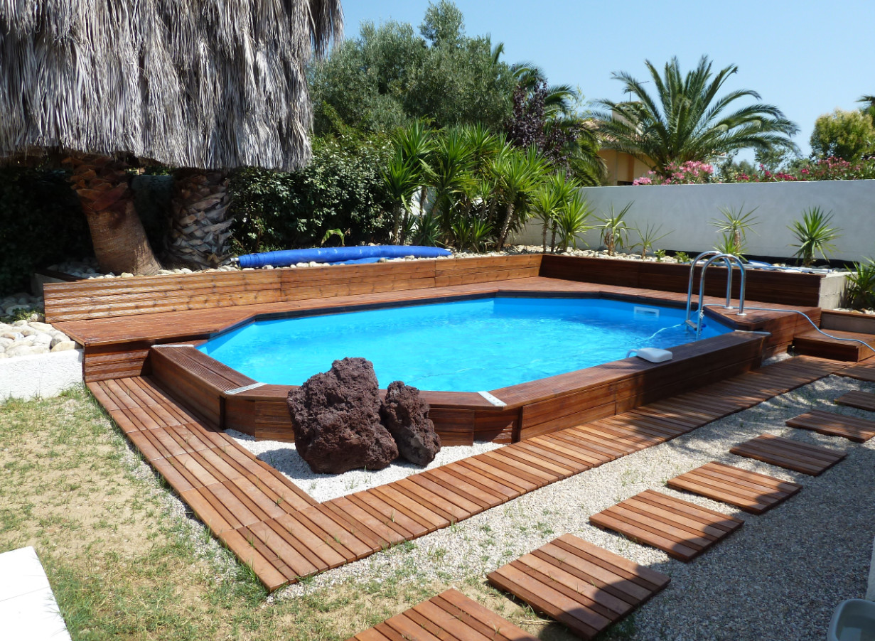 Piscine bois super tonga ubbink nortland allongee en kit 820x470x130cm lekingstore - Piscine hors sol bois nortland ...